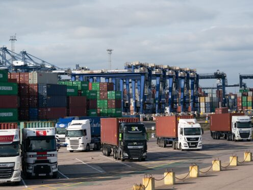 Lorries wait at the Port of Felixstowe in Suffolk (Joe Giddens/PA)