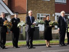 PFCC Roger Hirst, Chief Constable Ben-Julian Harrington, Speaker of the House Sir Lindsay Hoyle, Home Secretary Priti Patel and Prime Minister Boris Johnson at the scene near Belfairs Methodist Church in Eastwood Road North, Leigh-on-Sea, Essex, where Conservative MP Sir David Amess died after he was stabbed several times at a constituency surgery on Friday (Essex Police/PA)