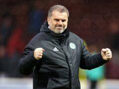 Celtic manager Ange Postecoglou celebrates victory at Fir Park (Steve Welsh/PA)