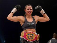 Savannah Marshall celebrates victory over Lolita Muzeya (Owen Humphreys/PA)