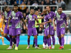 Harry Kane (third right) ended his scoring drought at Newcastle (Owen Humphreys/PA)