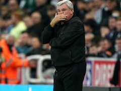 """Steve Bruce faced chants of """"we want Brucey out"""" during the match (Owen Humphreys/PA)"""