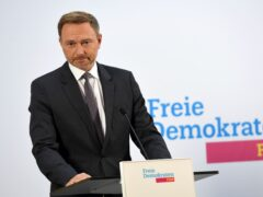 Christian Lindner, parliamentary party leader and party chairman of the FDP, makes a statement (Paul Zinken/AP)
