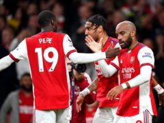 Alexandre Lacazette (right) celebrates with his team-mates after scoring the equaliser (Adam Davy/PA)