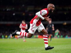 Alexandre Lacazette celebrates scoring Arsenal's equaliser (Adam Davy/PA)