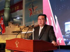North Korean leader Kim Jong Un speaks during a recent exhibition of weapons systems in Pyongyang. North Korea fired a ballistic missile into the sea on Tuesday (Korean Central News Agency/Korea News Service/AP)