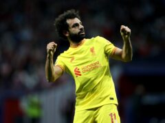 Mohamed Salah became the first man in the club's history to score in nine successive matches (Isabel Infantes/PA)