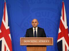 Health Secretary Sajid Javid during a media briefing in Downing Street, London, on coronavirus (PA)