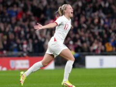 England's Beth Mead celebrates the second goal of her hat-trick in the 4-0 win against Northern Ireland at Wembley (John Walton/PA)