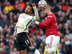 Luke Shaw, right, hit out at Manchester United's performance against Liverpool (Martin Rickett/PA)