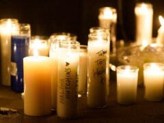 Candles at the vigil for the late cinematographer Halyna Hutchins (Chris Pizzello/AP)