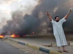 A man shouts slogans during a protest in Khartoum, Sudan (New Sudan NNS via AP)