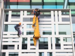 Activists from Animal Rebellion after scaling the outside of the Defra building in Westminster (James Manning/PA)