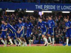 Chelsea players celebrate after beating Southampton 4-3 on penalties (Nick Potts/PA)
