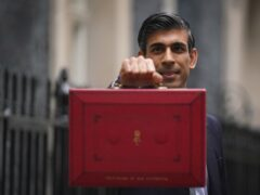 Chancellor Rishi Sunak with his Budget red box (Victoria Jones/PA)