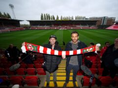 Wrexham co-chairmen Rob McElhenney (left) and Ryan Reynolds (right) during a press conference at the Racecourse Ground (Peter Byrne/PA)