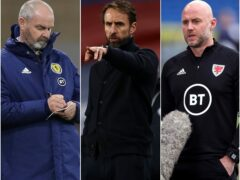 Steve Clarke, Gareth Southgate and Robert Page (left to right) are all still on course to take their teams to the 2022 World Cup (Jane Barlow/Adrian Dennis/Nick Potts/PA)