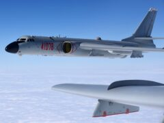 A Chinese military H-6K bomber on a training exercise in the South China Sea (Wang Guosong/Xinhua via AP)