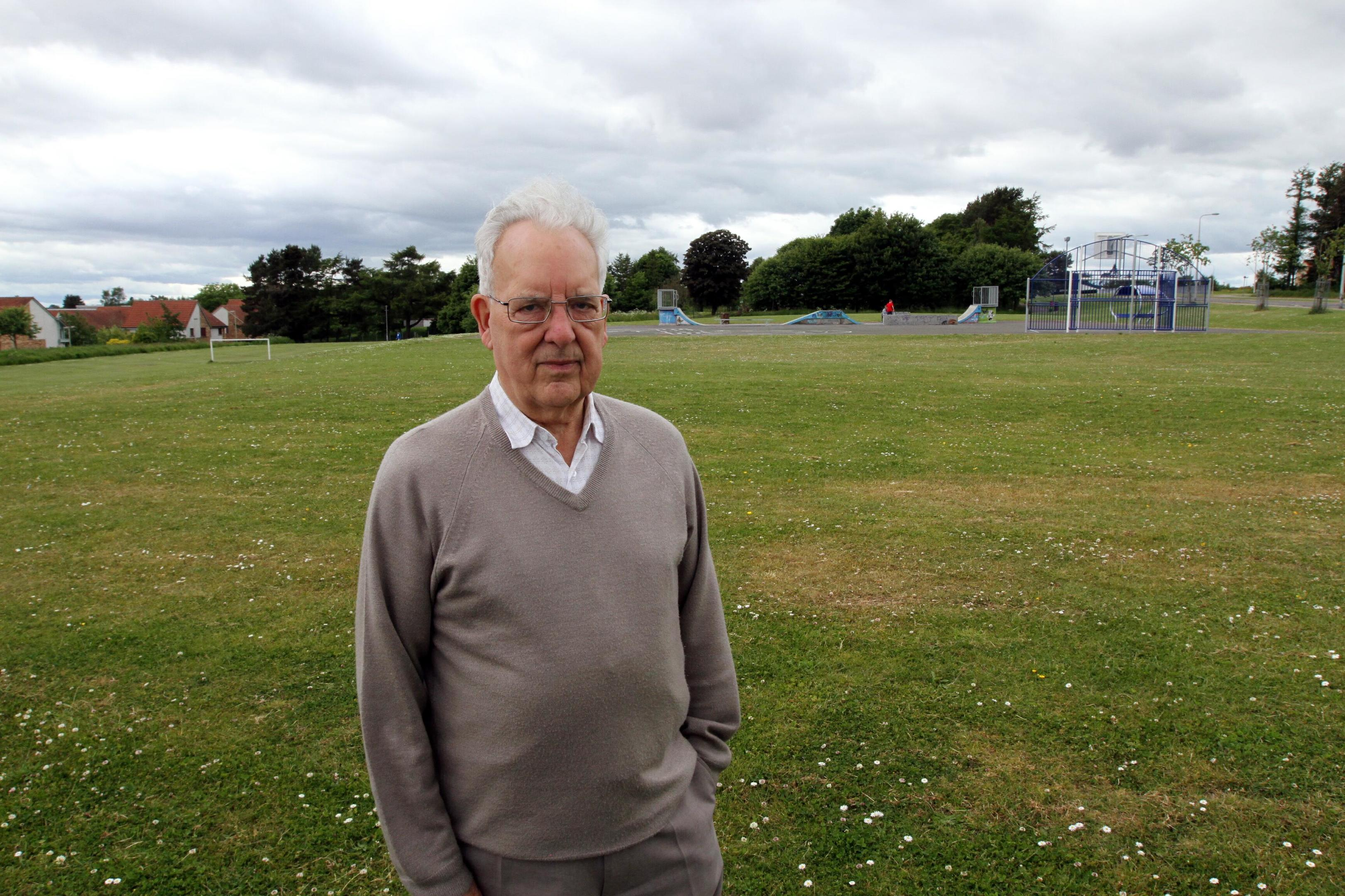 Whitfield Development Group Chairman George Roberts at the grass area at the top of Whitfield Loan which is to be turned into a kids play area.