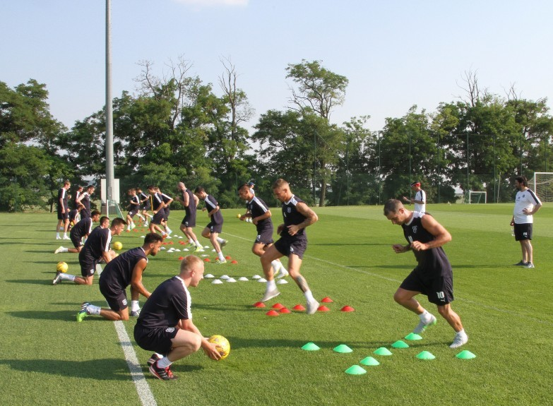 Dundee players are put through their paces in Hungary last pre-season. Pic by David Young