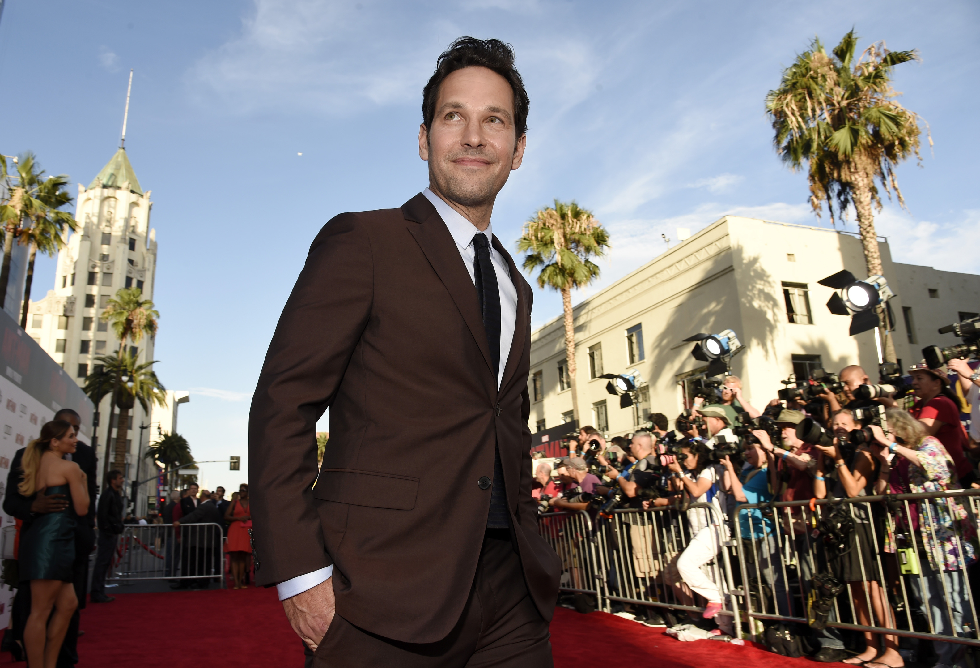 """Paul Rudd, star of """"Ant-Man,"""" walks the red carpet at the premiere of the film in LA."""
