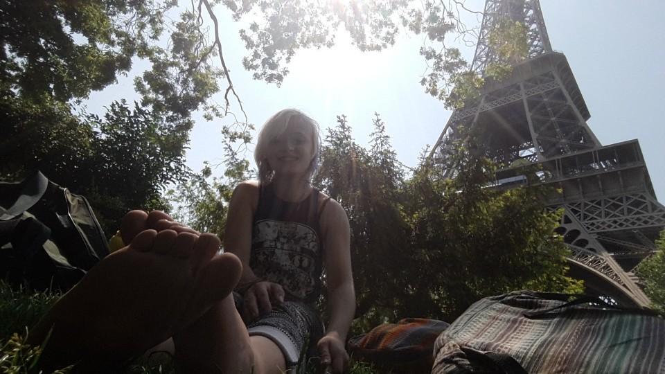 Having a break beneath the Eiffel Tower.
