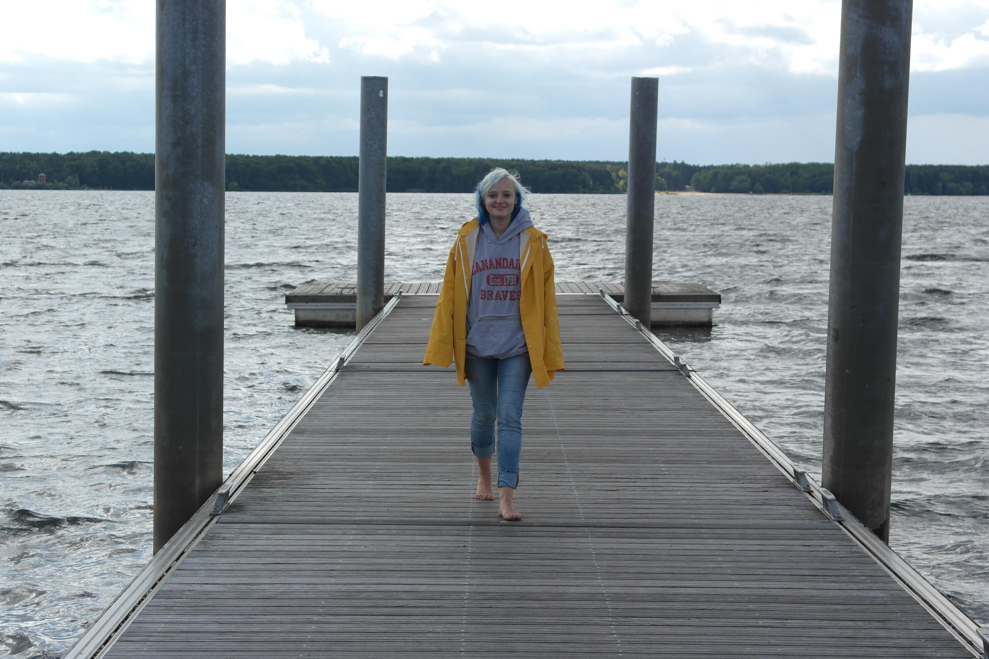 Taking a stroll along a boardwalk.