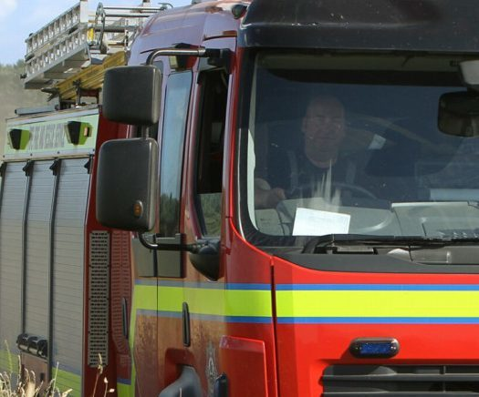 Firefighters tackled the blaze at a playing field