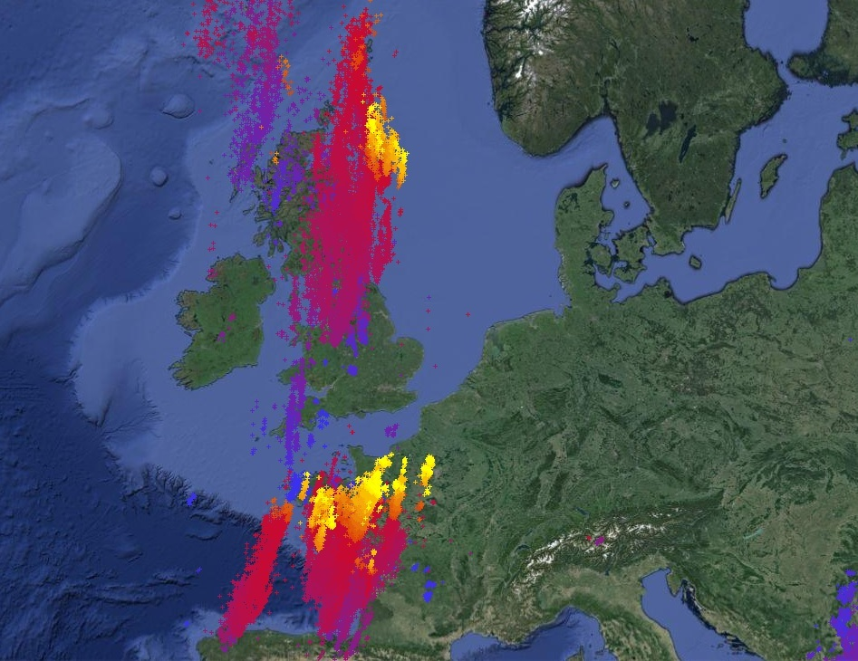Picture from Lightningmaps.org show the strikes across the UK in the past 24 hours.