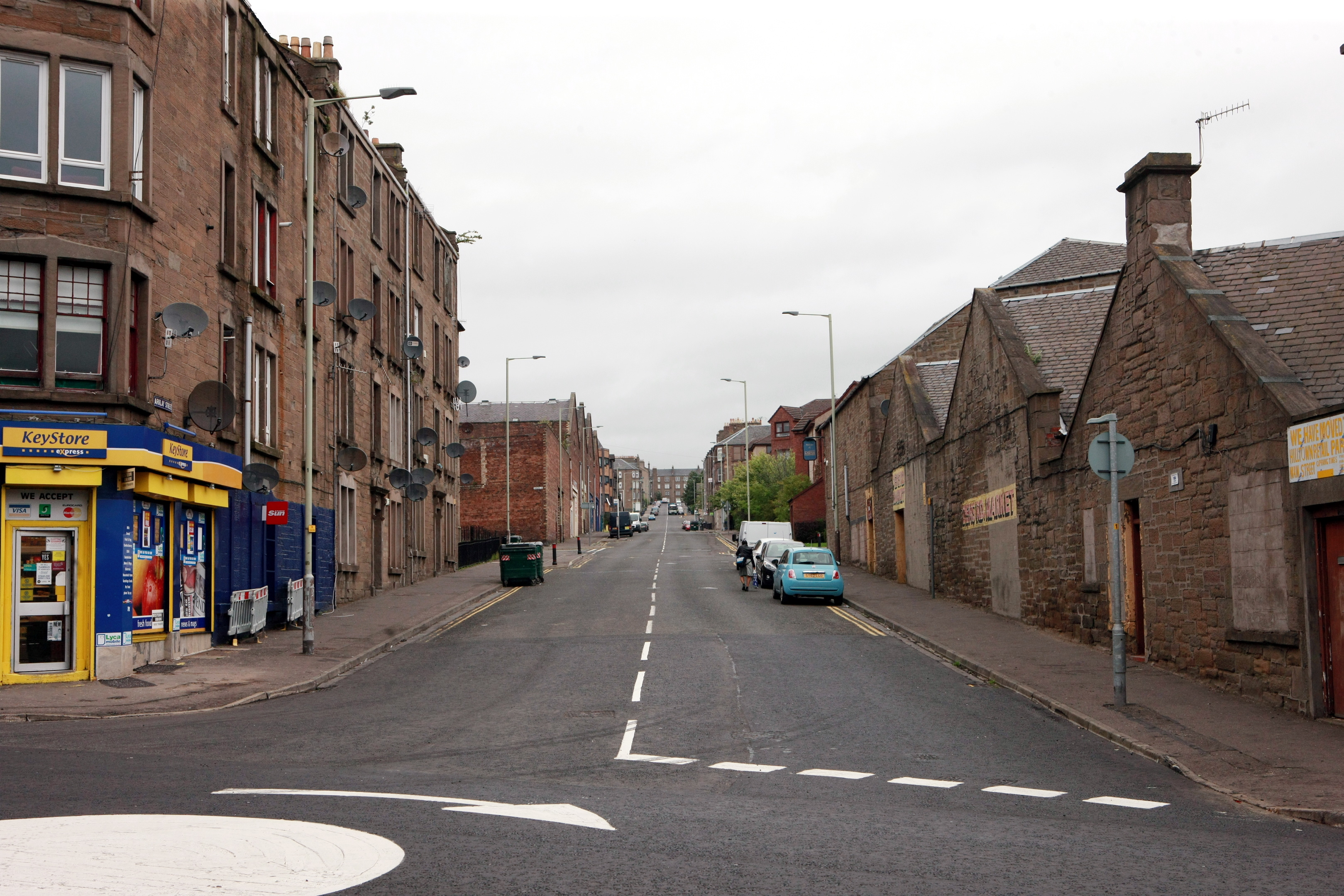 Arklay Street, as seen from its junction with Dens Road.