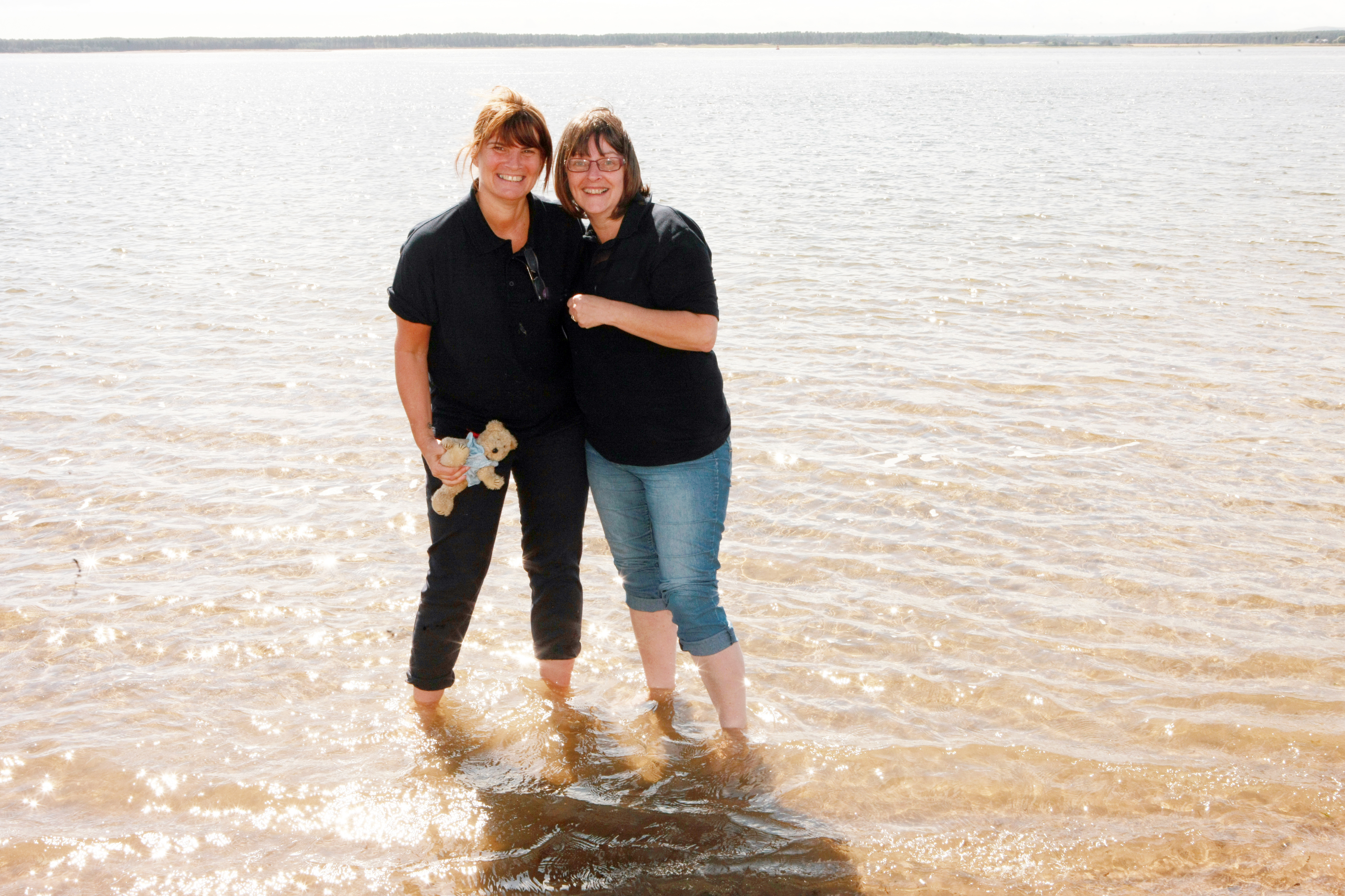 Joyce Riddell and Lynn Hutchison padding at Broughty Beach earlier this month.