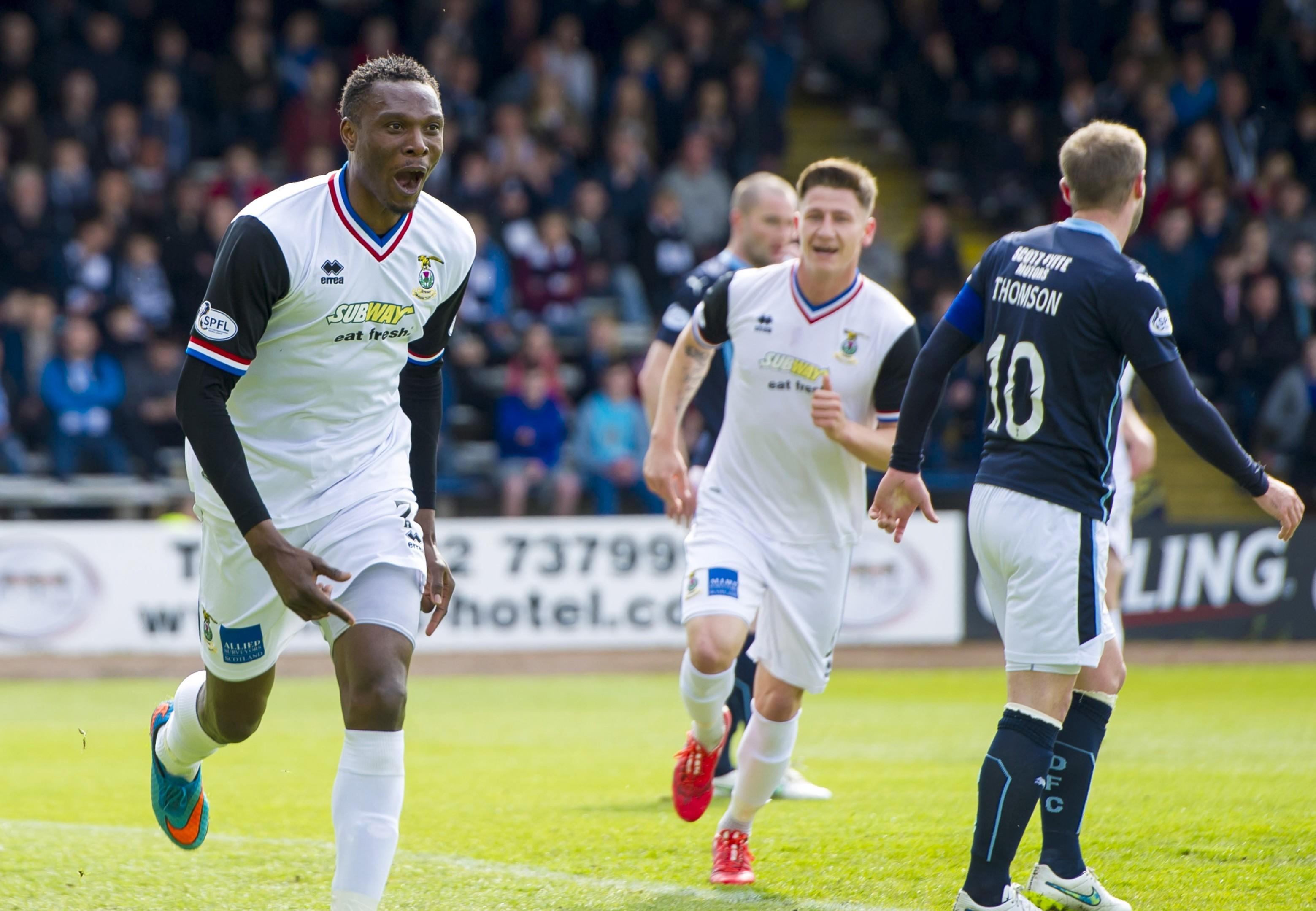 Edward Ofere celebrates a goal