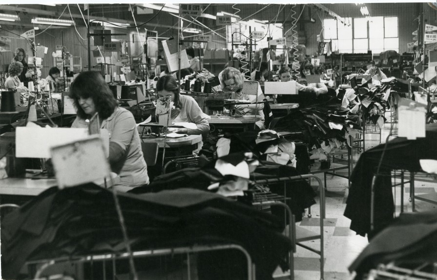 Machinists making jeans at the Kilspindie Road factory.