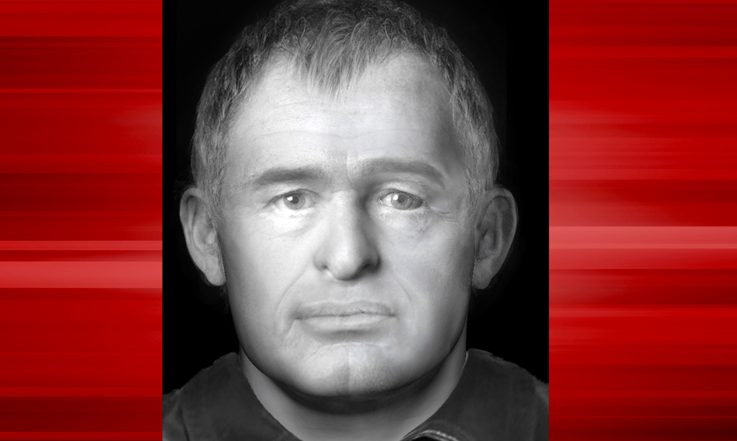 A facial reconstruction carried out by Dundee University created in the hope of identifying a man found dead in woods in the west of Ireland last year.