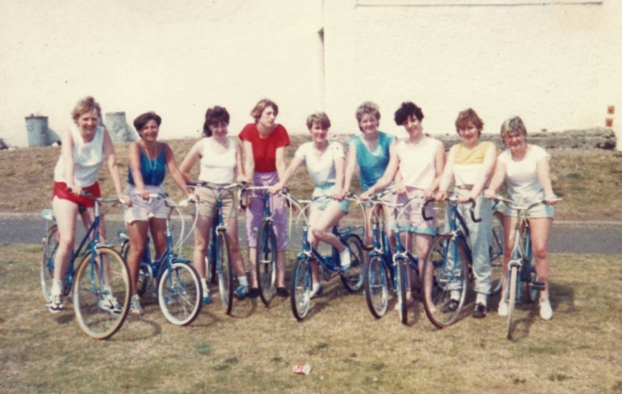 A workers' charity cycle to Arbroath in 1984.
