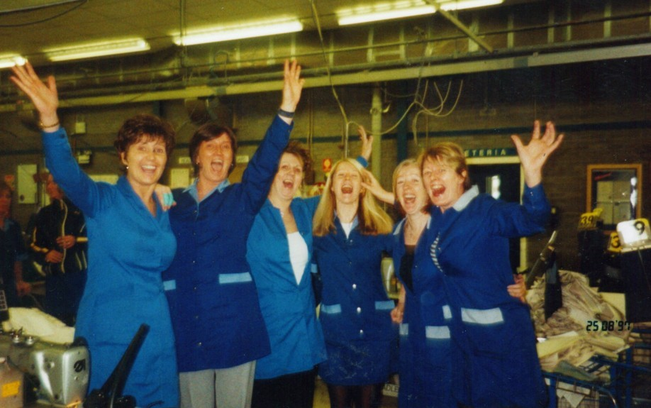 Linda Davidson (left) and colleagues when Levi's closed.