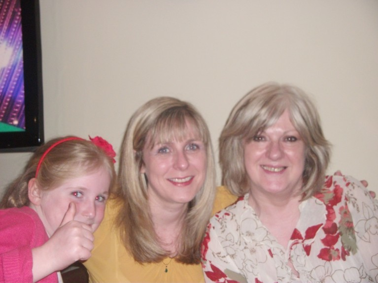 Sandra (right), with her granddaughter Holly, left, and daughter Rachel.