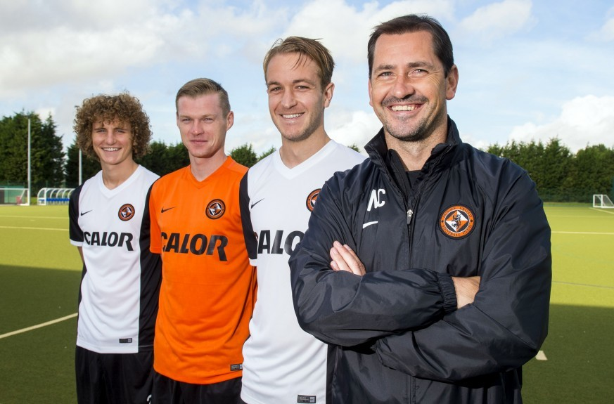 former United manager Jackie McNamara with three of his signings: Aaron Kuhl (left) Billy Mckay (middle) and Adam Taggart.
