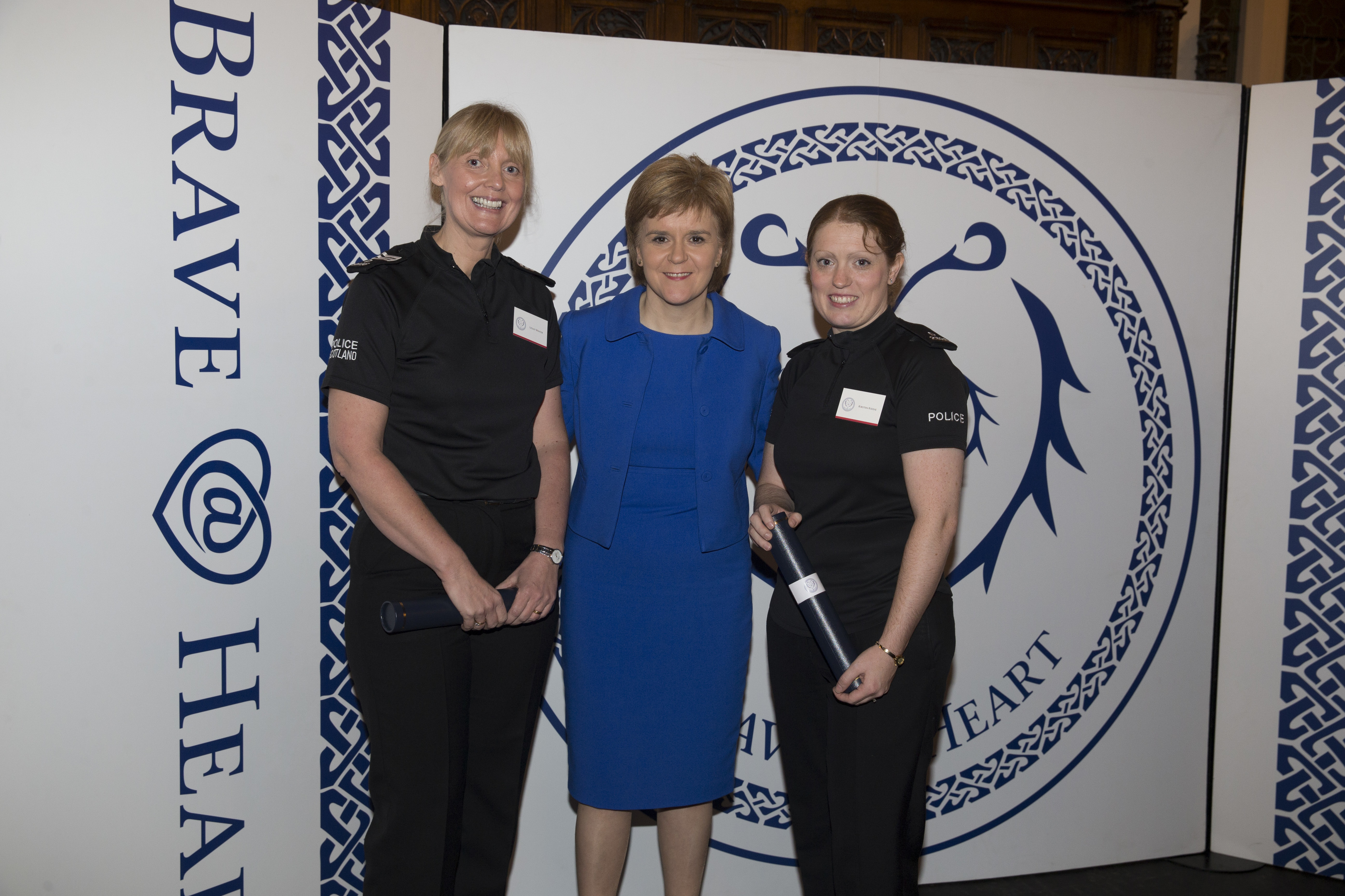 Sergeant Lesley Winter and PC Kirsten Kiddie with First Minister Nicola Sturgeon at the Brave@Heart awards.