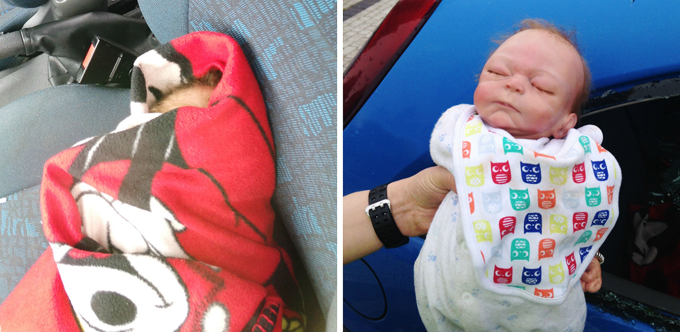 Police broke into a locked car to rescue what the thought was a trapped baby