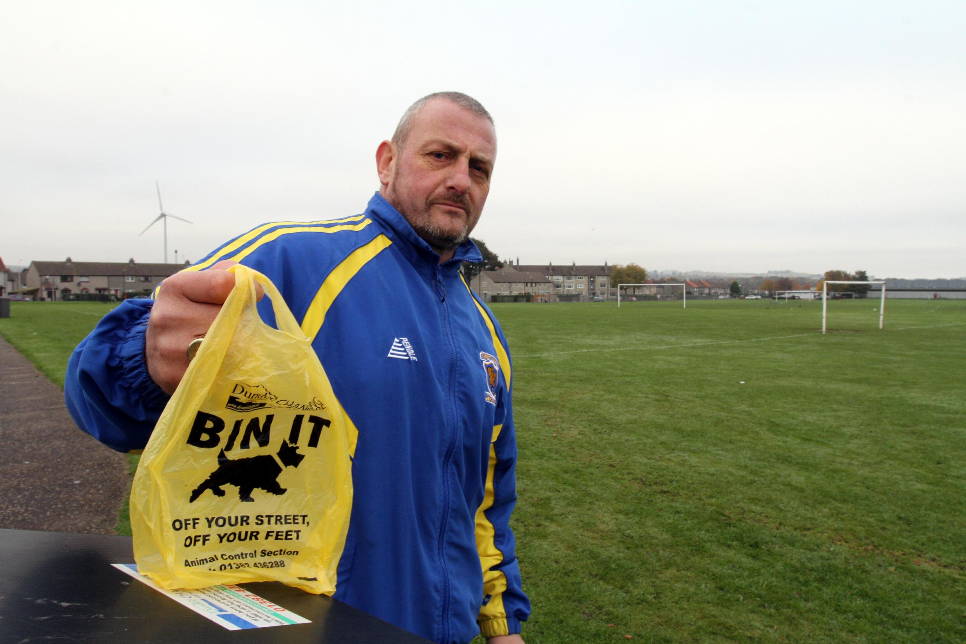 FC Claypotts manager Callum Ogilvie is sick of dog fouling.