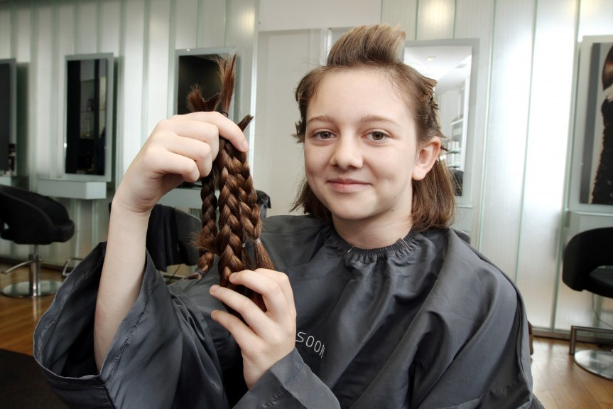 Megan before she shaved her hair.