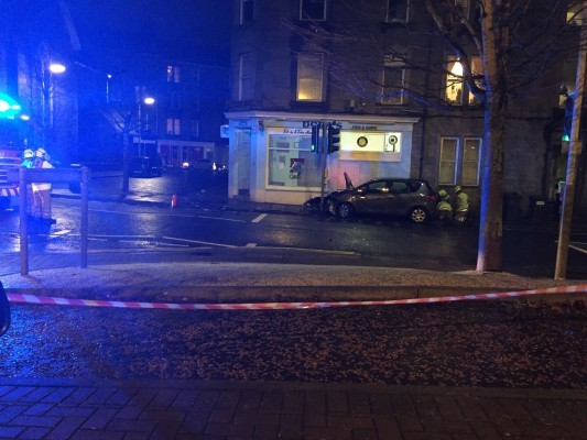 The scene outside Dora's chip shop