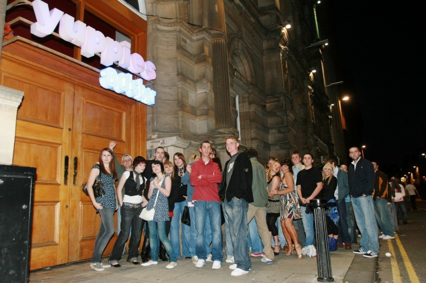 Fans wait outside Yuppies to see The View in 2007 ahead of a 'secret' show