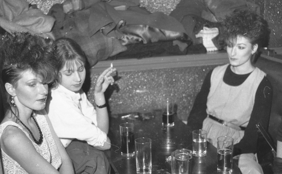 These women take a break from dancing at Club Feet in the 80s.