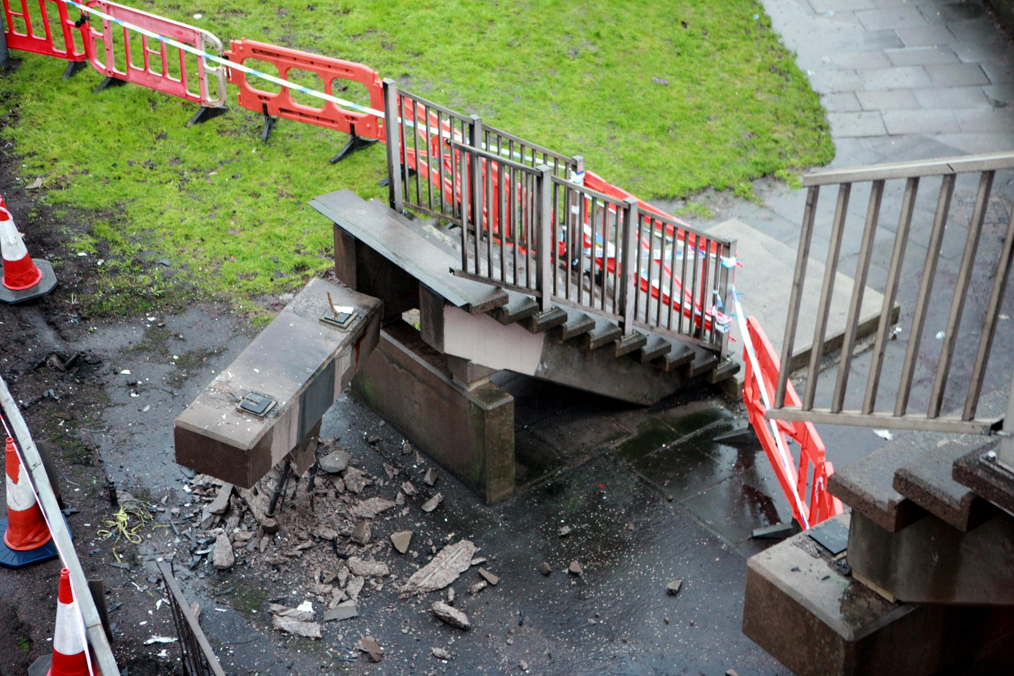 The damaged footbridge on the Kingsway.