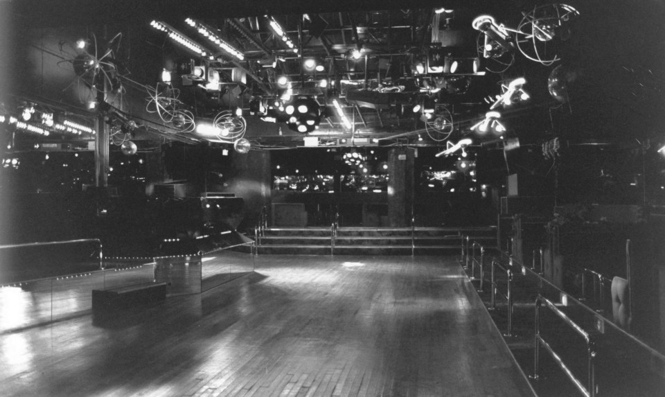 The dancefloor of Dirty Dens on Brown Street in 1988.