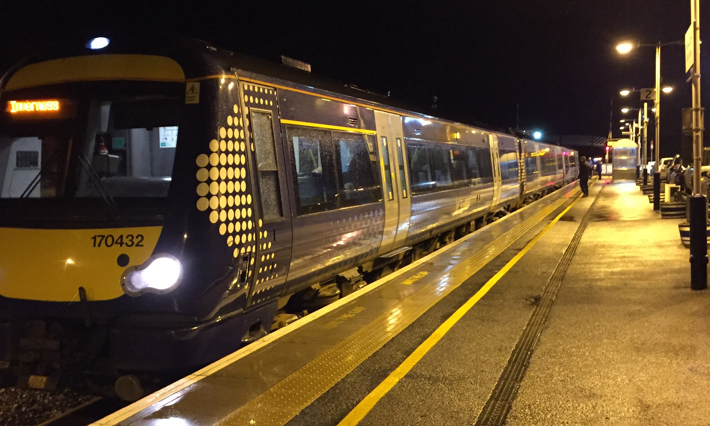 One of the trains held back on its journey to Aberdeen last night.