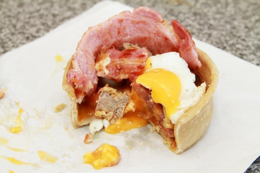 A breakfast pie from Rosie's, Clepington Road, Dundee. Brekkie Pie.