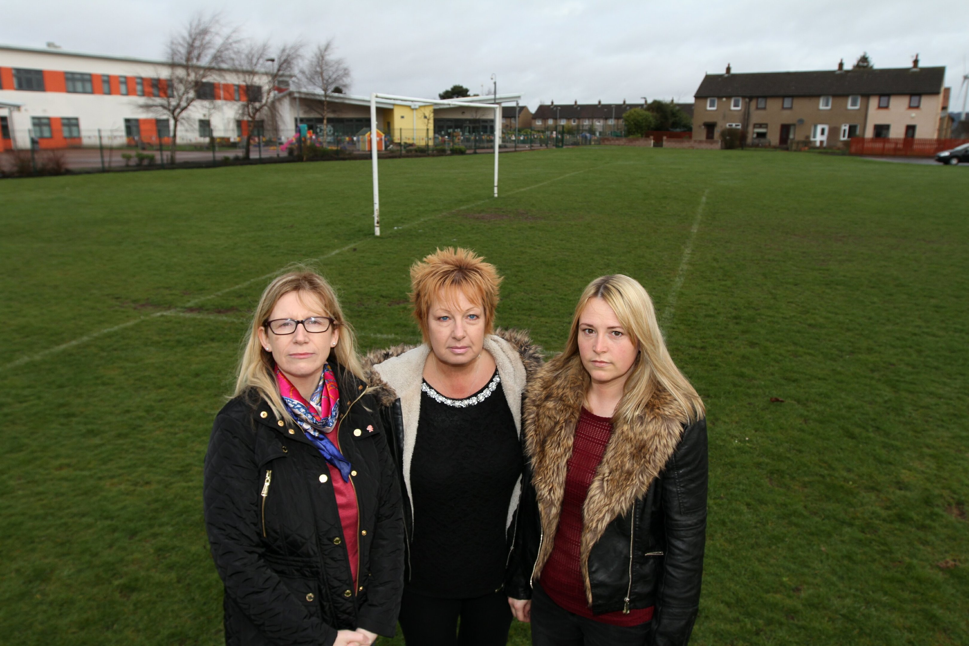 Councillor Lesley Brennan with residents Jemma Kelly and Ruth Rose.